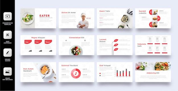 Vorlage für kulinarische geschäftspräsentationen Premium Vektoren