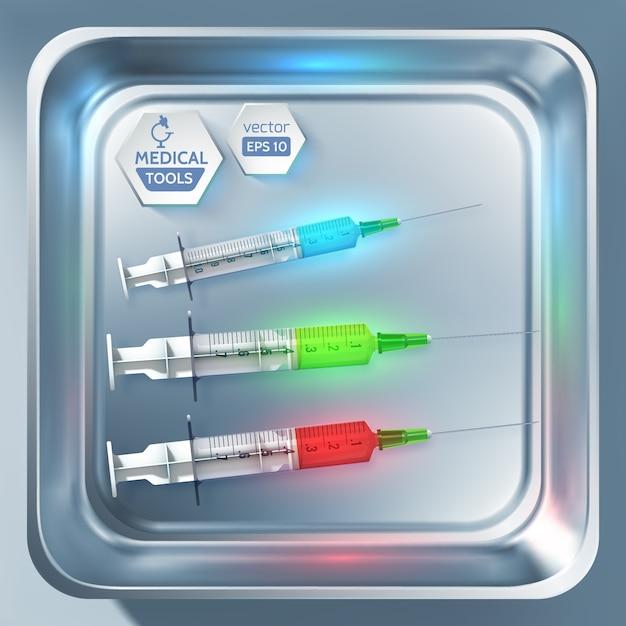 Vorlage für medizinische geräte mit spritzen und injektionen verschiedener farben in einer isolierten illustration des sterilisators Premium Vektoren