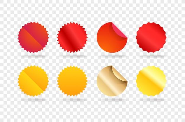 Vorlage für rote und goldene etiketten. elemente clipart isoliert auf transparentem hintergrund Premium Vektoren