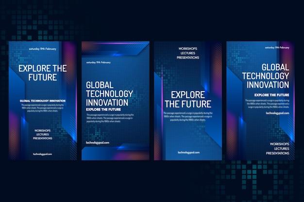 Vorlage für technologie und zukünftige instagram-geschichten Premium Vektoren