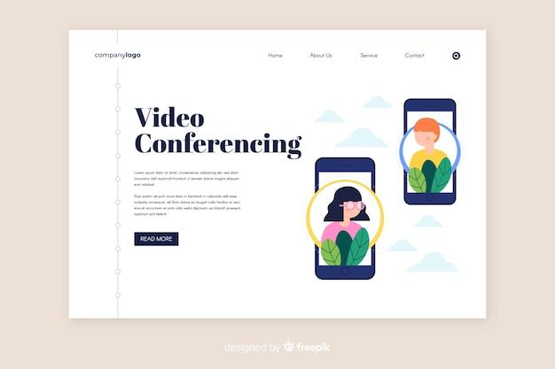 Vorlage für videokonferenzen und seiten Kostenlosen Vektoren