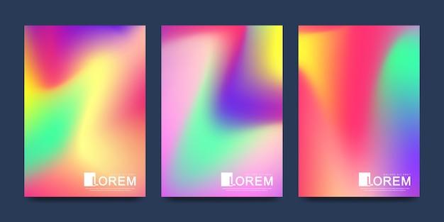 Vorlage in trendigen lebendigen verlaufsfarben mit abstrakten fließenden formen, farbspritzern, tintentropfen. Premium Vektoren