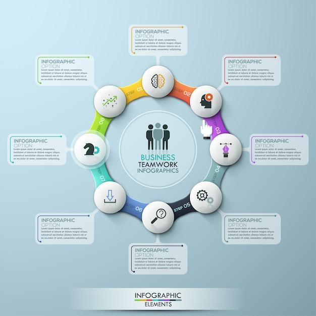 Vorlage infografik acht optionen zyklus. vektor auf lager Premium Vektoren