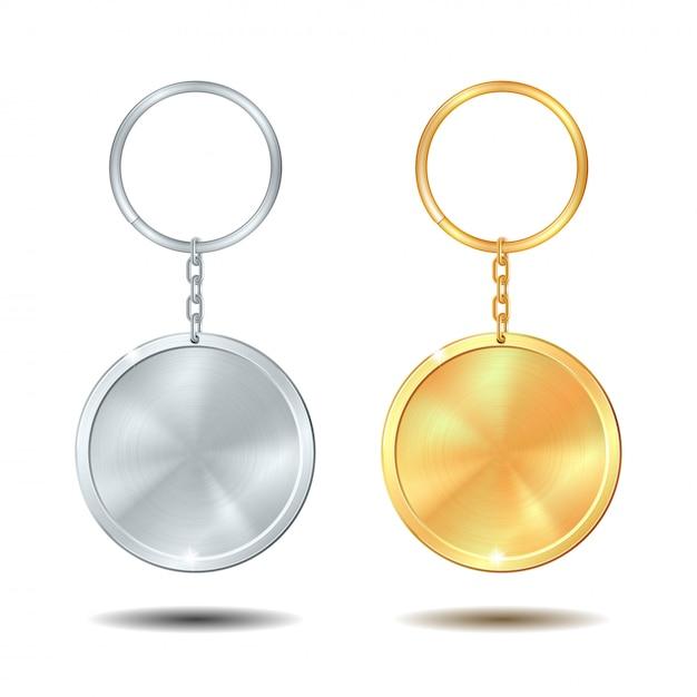 Vorlage metall schlüsselanhänger set golden und silber kreis Premium Vektoren