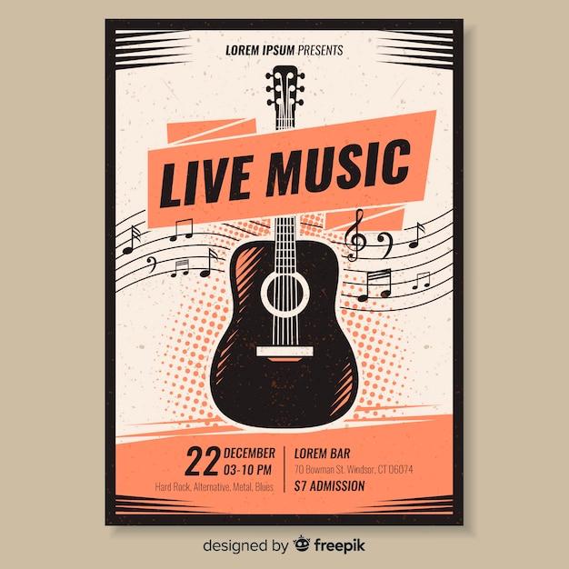 Vorlage plakat retro-musik Kostenlosen Vektoren