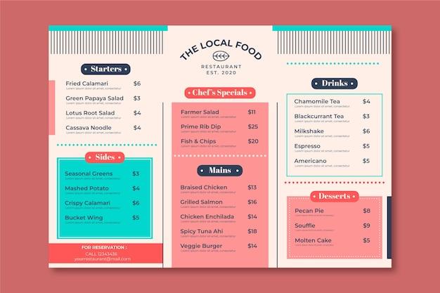 Vorlage restaurant bunte speisekarte Kostenlosen Vektoren