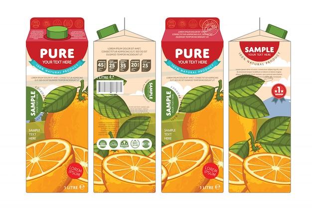 Vorlage verpackungsdesign orangensaft Premium Vektoren