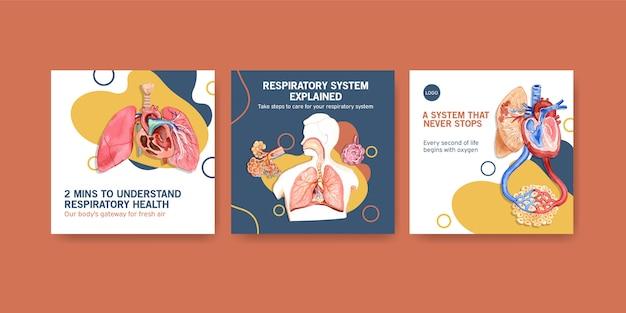 Vorlagen-design-anzeigen mit menschlicher anatomie der lunge und der atemwege Kostenlosen Vektoren