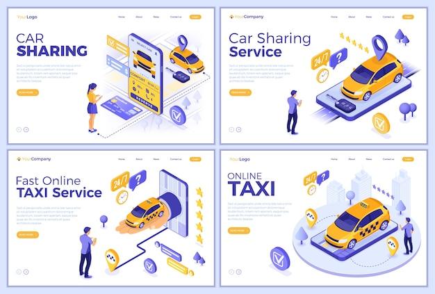Vorlagen für carsharing und online-taxi-landingpages. mann und mädchen online wählen auto für carsharing oder taxi. autovermietung, fahrgemeinschaft, über mobile anwendung geteilt. isometrisch Premium Vektoren