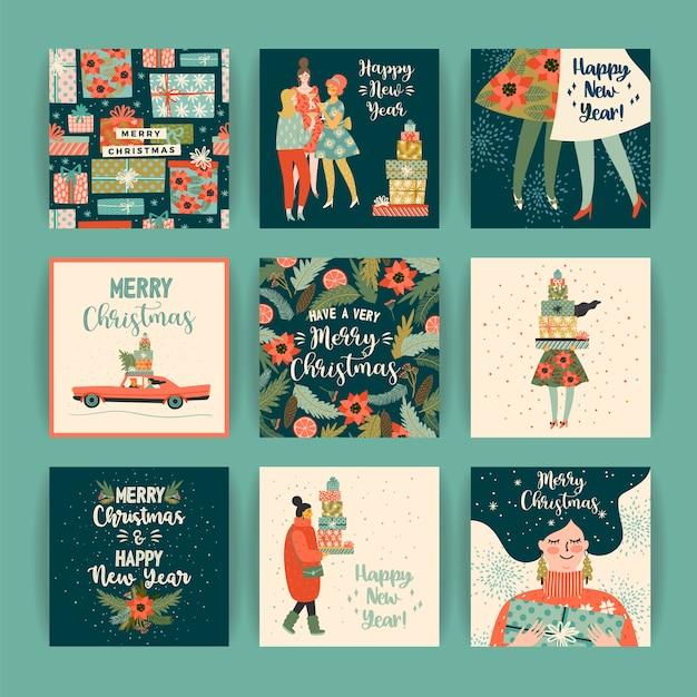 Vorlagen für Weihnachten und Happy New Year. Premium Vektoren