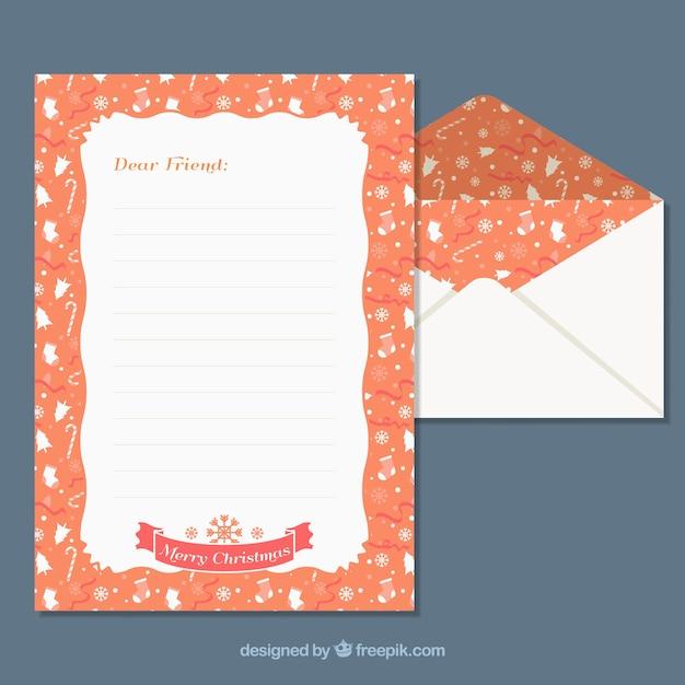 Vorlagen von einem weihnachtsbrief und umschlag mit einem orangefarbenen rahmen Kostenlosen Vektoren
