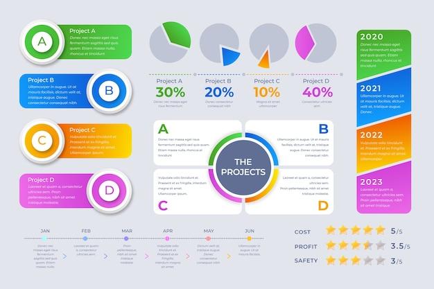 Vorlagenkonzept für infografik-elementsammlung Kostenlosen Vektoren