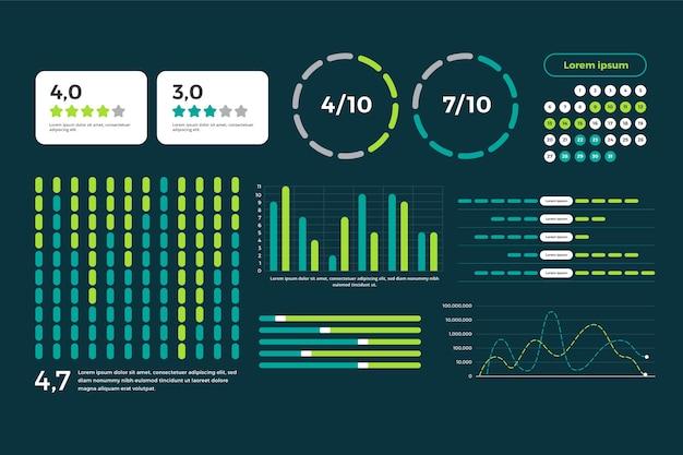 Vorlagensatz für dashboard-elemente Kostenlosen Vektoren