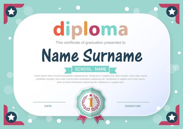 Vorschulkinder diplom zertifikat hintergrundvorlage Premium Vektoren