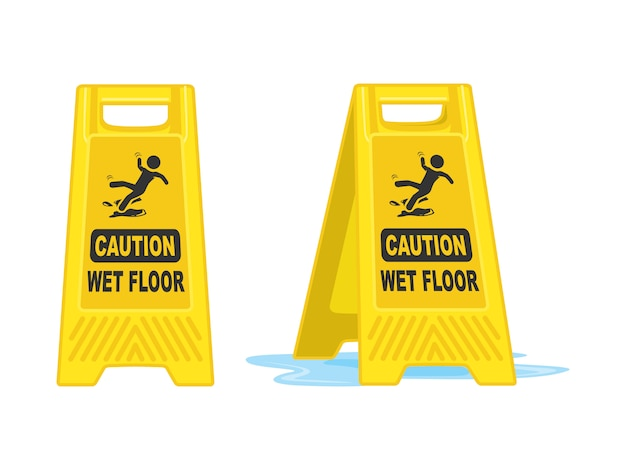 Vorsicht-nasse boden-zeichen-brett-vektor-illustration Premium Vektoren