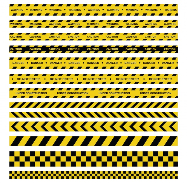 Vorsicht und gefahrbänder. warnband. schwarze und gelbe linie gestreift. Premium Vektoren