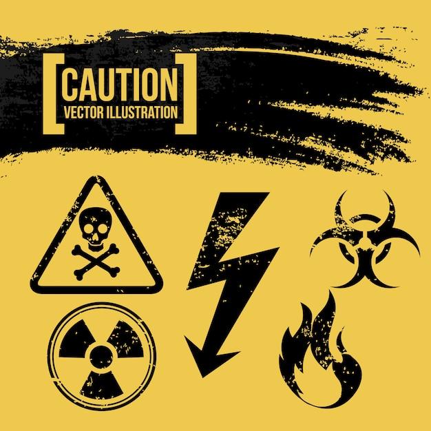 Vorsichtdesign über gelber hintergrundvektorillustration Premium Vektoren