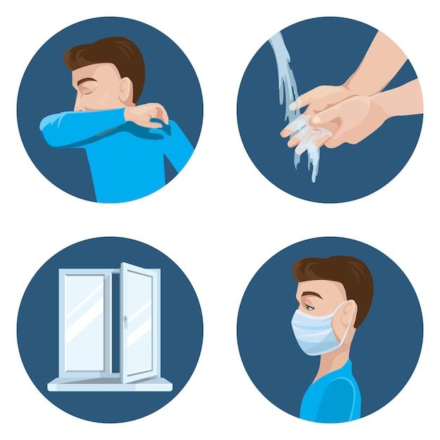 Vorsichtsmaßnahmen bei der verbreitung des virus. niesen im ellbogen. hände waschen. lüften sie den raum. tragen sie eine medizinische maske. Premium Vektoren