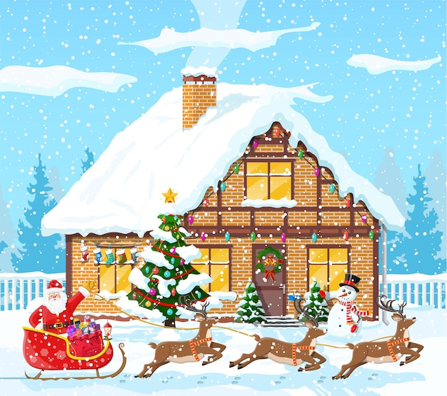 Vorstadthaus bedeckt schnee. gebäude in feiertagsverzierung. weihnachtslandschaftsbaum, schneemann, santa schlitten rentiere. neujahrsdekoration. frohe weihnachtsfeiertage weihnachtsfeier. illustration Premium Vektoren