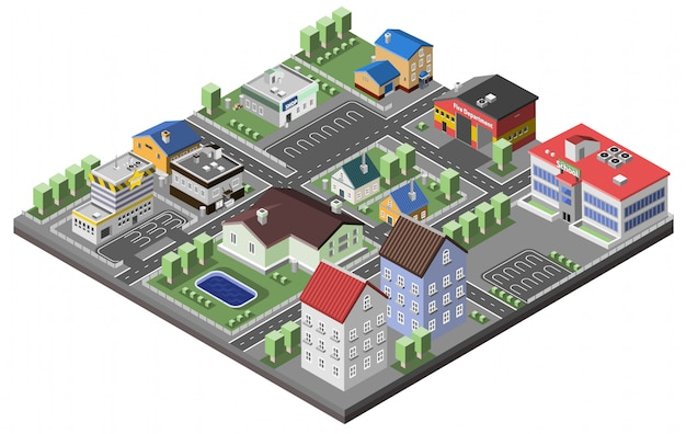 Vorstadtkonzept isometrisch Kostenlosen Vektoren