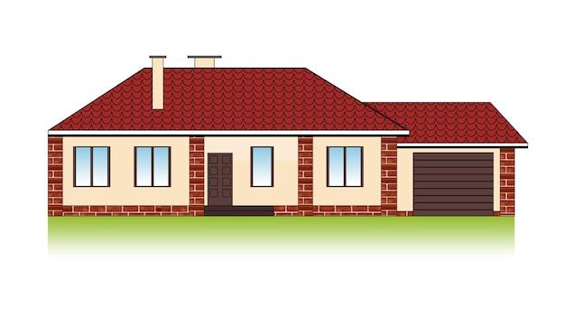 Vorstädtisches familienhaus mit garage, ziegeldach und backsteinfassade. Premium Vektoren