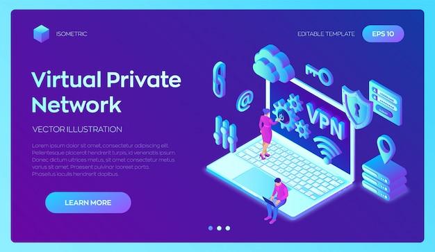 Vpn. virtuelles privates netzwerk. sichere vpn-verbindung. 3d isometrisch. Premium Vektoren