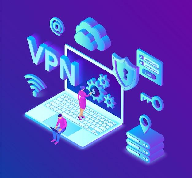 Vpn. virtuelles privates netzwerk. sichere vpn-verbindung. cybersicherheit und datenschutz. Premium Vektoren