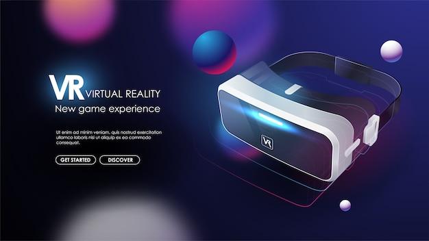 Vr-geräte, virtuelle brillen, virtual-reality-brillen, geräte zum spielen elektronischer videospiele im digitalen cyberraum. futuristisches plakat. Premium Vektoren