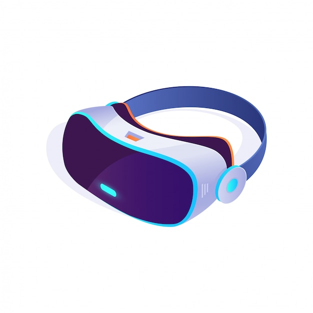 Vr-kopfhörerikone 3d isometrisch auf weißem hintergrund, gläser der virtuellen realität, vr-kopfhörerikone. vektor-illustration Premium Vektoren