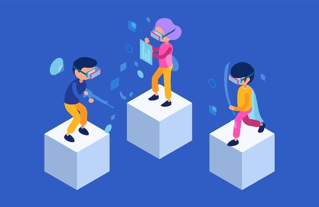 Vr leute. zukünftige charaktere, männer und frauen, spielen in virtual-reality-spielen immersive technologie. moderne isometrische vektorzeichen. illustrationssimulationserfahrung beim spielen eines videospiels Premium Vektoren