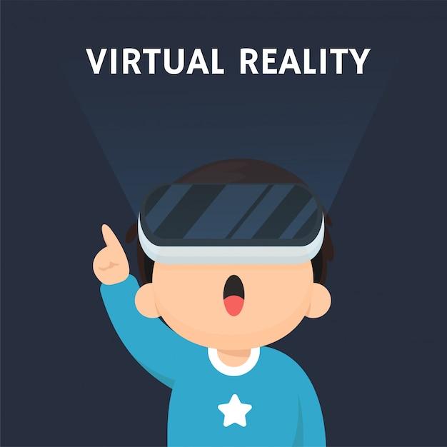 Vr-technologie. kinder, die begeistert sind, die virtuelle welt mit vr-technologie zu betreten. Premium Vektoren