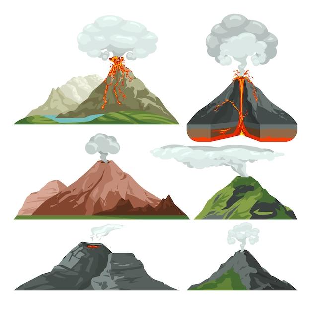 Vulkanberge mit magma und heißer lava abgefeuert. vulkanausbruch mit staubwolken-vektorsatz. vulkan mit lava, gebirgsfelsen vulkanisch mit heißer magmaillustration Premium Vektoren