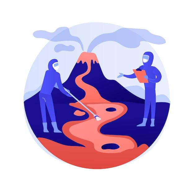 Vulkanologie abstrakte konzeptvektorillustration. vulkanausbruchstudie, vulkanologiedisziplin, universitätsstudium, postgraduale ausbildung, wissenschaftliche forschung und abstrakte metapher für vorhersagen. Kostenlosen Vektoren