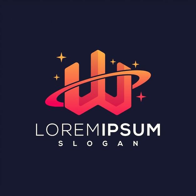 W planet logo Premium Vektoren