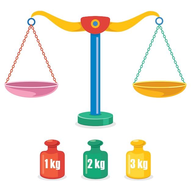 Waage der gerechtigkeit, gewichtsbalance Premium Vektoren