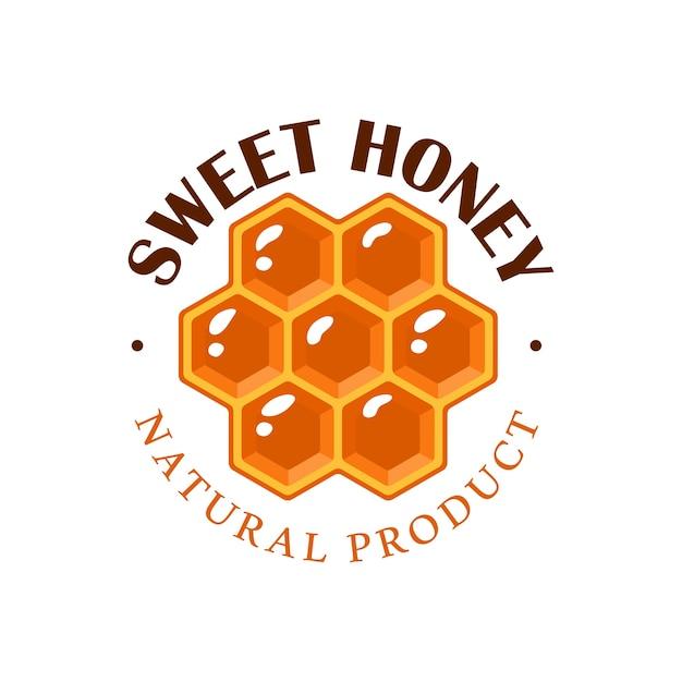 Wabe auf weißem hintergrund. honigetikett, logo, emblemkonzept. illustration Premium Vektoren