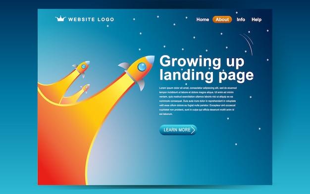 Wachsende start-up-template-design. illustrationskonzept der landing page Premium Vektoren