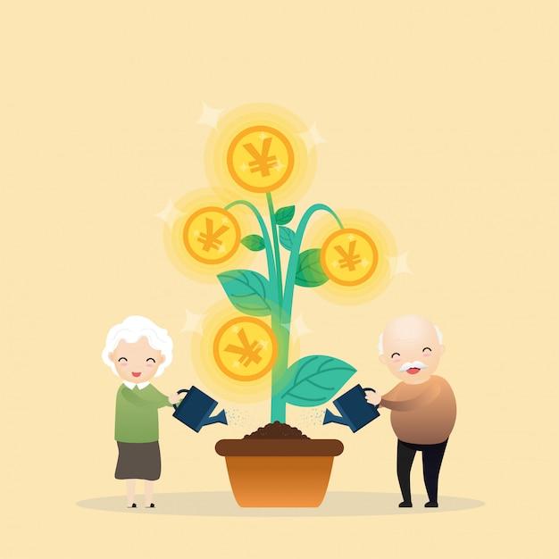 Wachsender geldbaum. Premium Vektoren