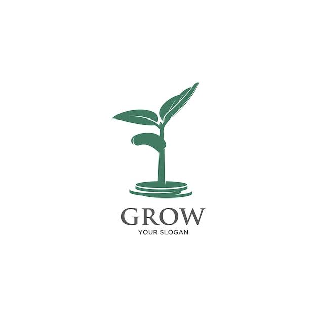 Wachsendes münz-silhouette-logo Premium Vektoren
