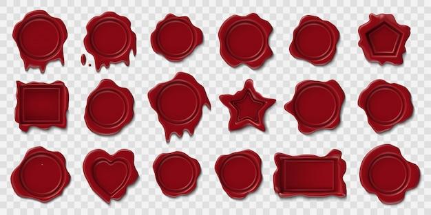 Wachssiegel. geprägte briefumschlag-briefmarken, mittelalterliches wachs-siegel, retro-sicherheits-siegel-porto-zertifikat. poststempel leere gütesiegel illustration symbole gesetzt Premium Vektoren