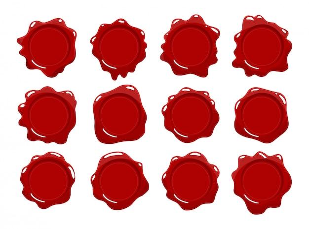 Wachsstempelsammlung. satz rotes wachssiegel. isolierte gestaltungselemente. schutz und zertifizierung, garantie und qualitätszeichen Premium Vektoren