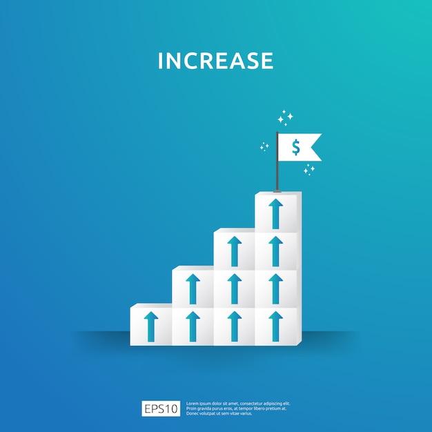 Wachstumsgeschäftssteigerung mit stapelblock. stufentreppenleiter mit pfeil nach oben illustration für den erfolgsprozess, anstieg der einkommensgehälterrate, finanzierung der rendite-roi. Premium Vektoren
