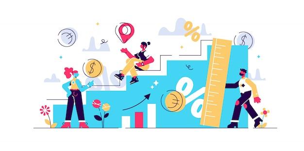 Wachstumsillustration. flaches winziges erhöhtes wirtschaftliches personenkonzept. prozentuale messung des realen bruttoinlandsprodukts. erfolgreiche geschäftsmanagement-gewinnmanagement- und entwicklungsstrategie. Premium Vektoren