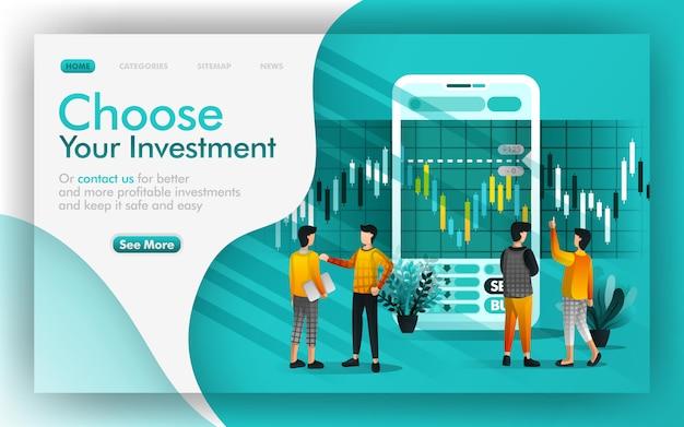 Wählen sie ihre investition und ihr online-banking Premium Vektoren