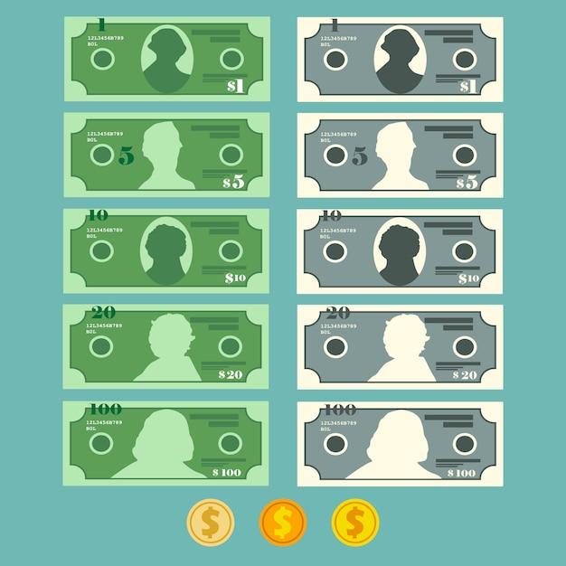 Währungsdollar-banknotensatz, illustration im flachen stil Premium Vektoren