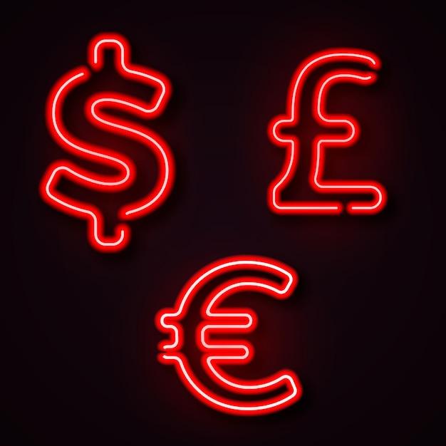 Währungsneon-symbol-dollar-pfund-euro Premium Vektoren
