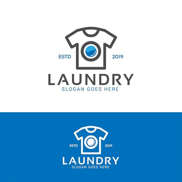 Wäsche waschen logo Premium Vektoren