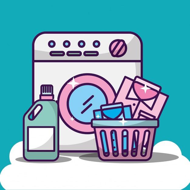 Wäschereireinigungsillustration mit waschmaschine Kostenlosen Vektoren