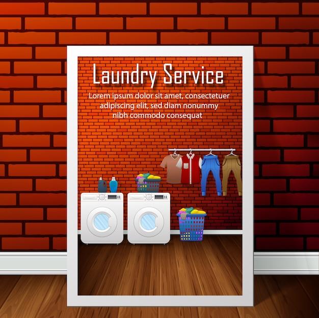 Wäschereiservice-fahnendesign auf backsteinmauerhintergrund Premium Vektoren