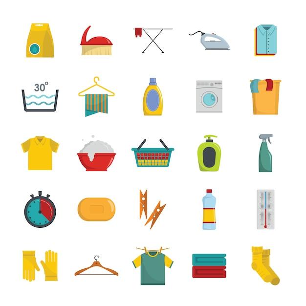 Wäschereiservice-ikonen eingestellt Premium Vektoren
